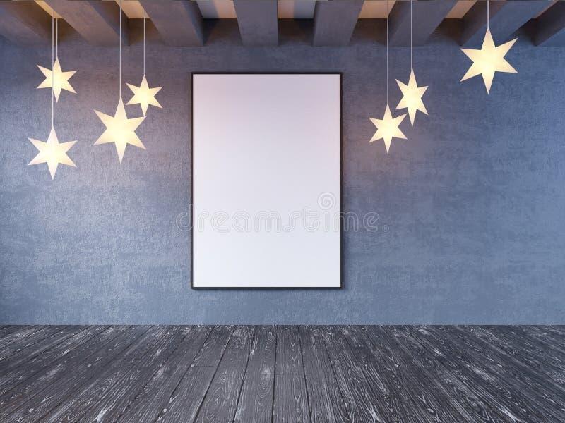 Глумитесь вверх по плакату с предпосылкой винтажной пастельной просторной квартиры минимализма битника внутренней, 3D переводом,  бесплатная иллюстрация