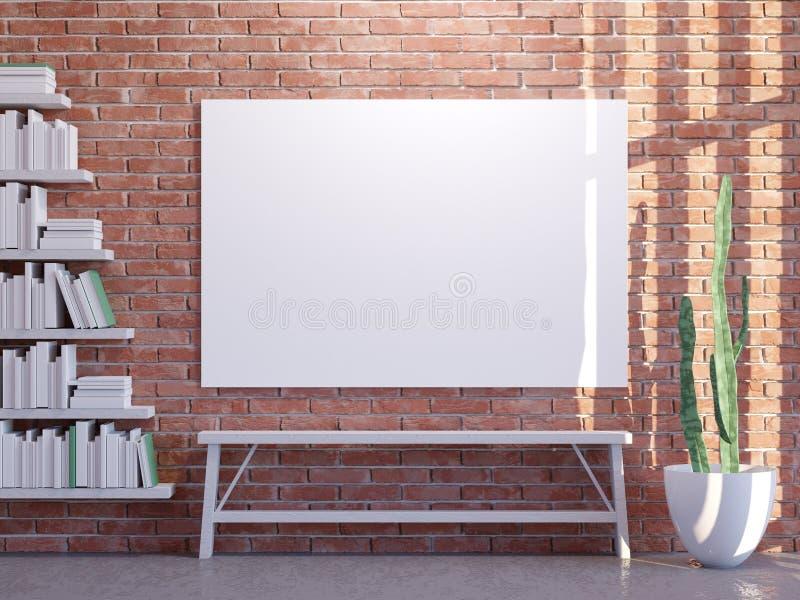 Глумитесь вверх по плакату с предпосылкой винтажной просторной квартиры битника внутренней, 3D представьте иллюстрация бесплатная иллюстрация
