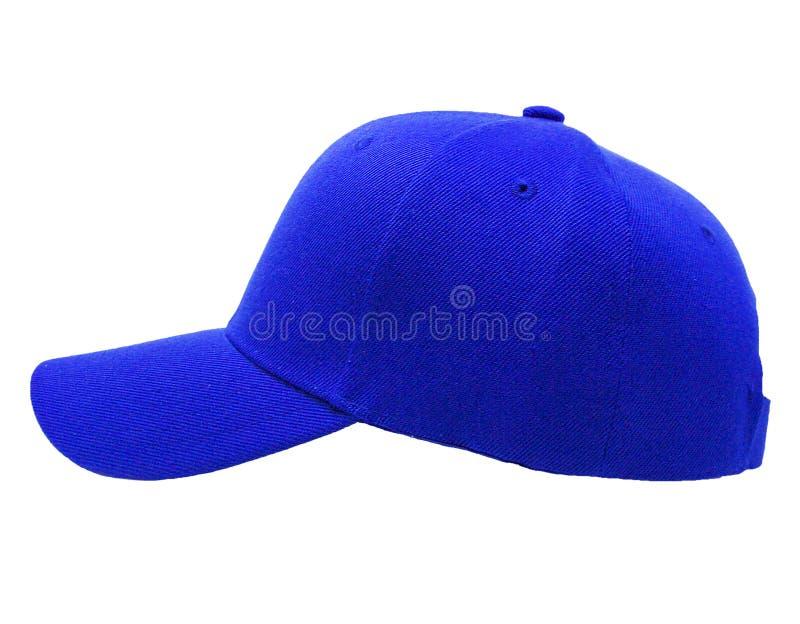 Глумитесь вверх по пустому крупному плану голубой крышки цвета бейсбола взгляда со стороны стоковые изображения rf