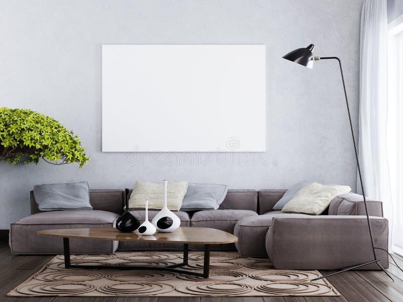 Глумитесь вверх по пустому плакату на стиле стены современном внутреннем иллюстрация вектора