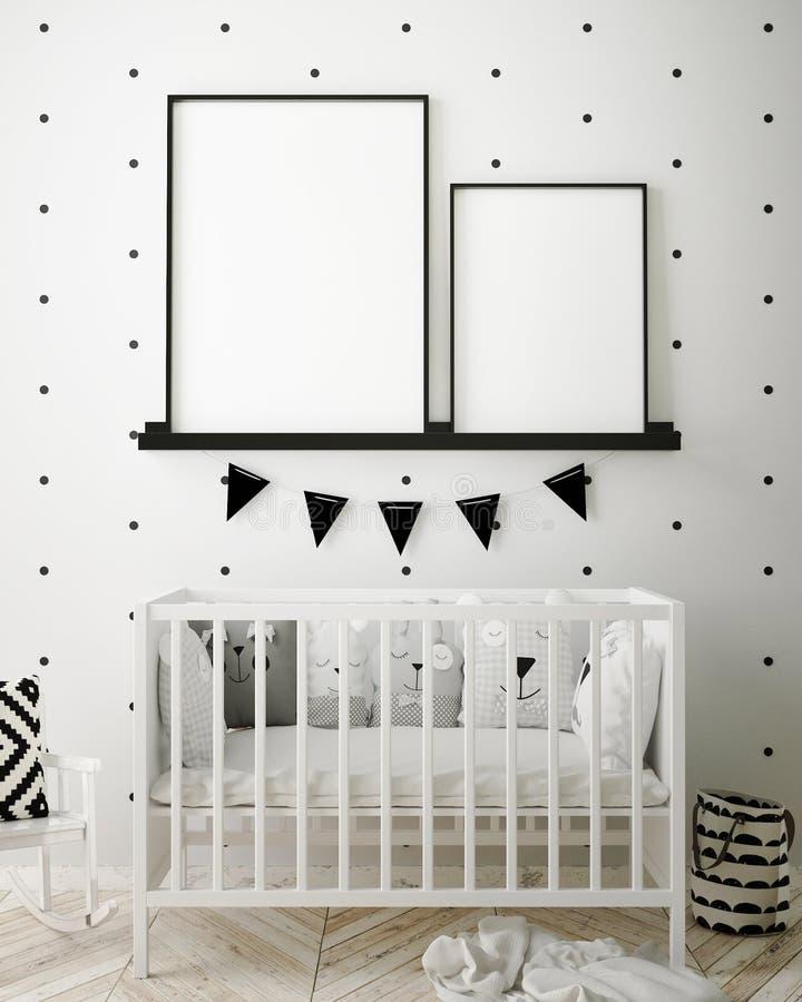 Глумитесь вверх по рамкам плаката в спальне детей, предпосылке скандинавского стиля внутренней, 3D представьте иллюстрация штока