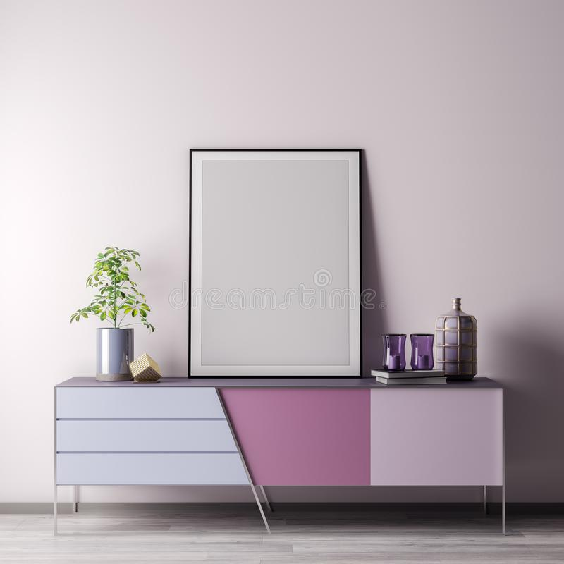 Глумитесь вверх по рамке плаката в внутренней комнате с белым wal, современным стилем, иллюстрацией 3D стоковое фото