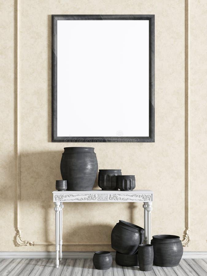 Глумитесь вверх по рамке плаката в классическом интерьере с белой таблицей с вазой иллюстрация вектора
