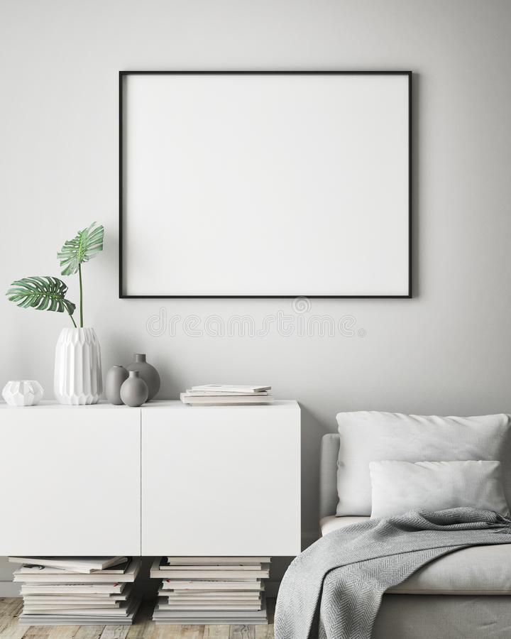Глумитесь вверх по рамке плаката в предпосылке битника внутренней, скандинавском стиле, 3D представьте бесплатная иллюстрация