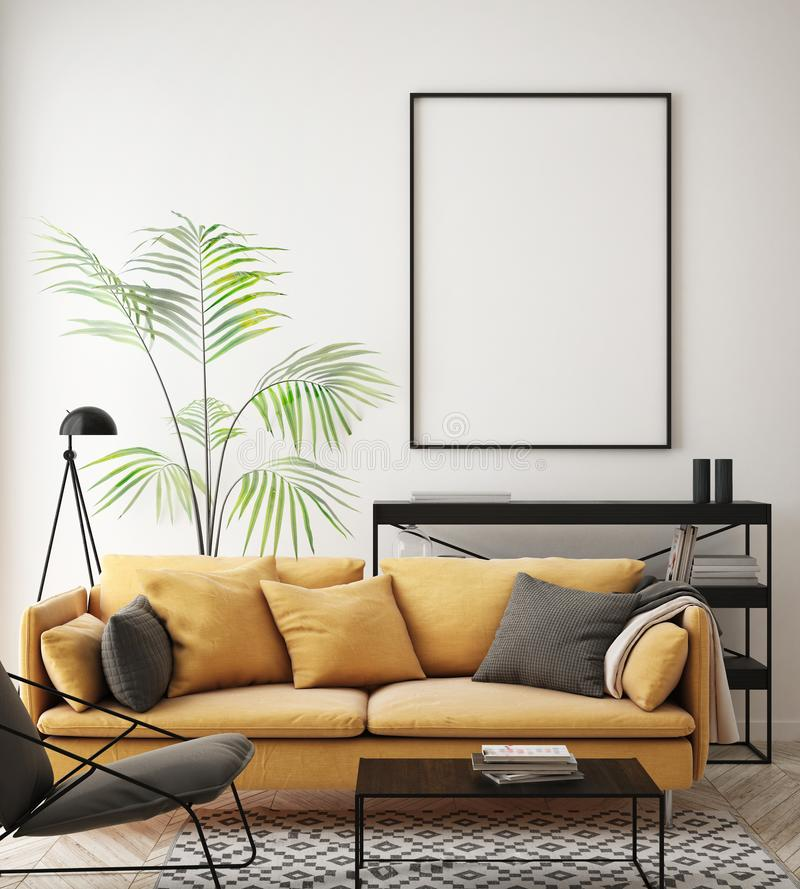 глумитесь вверх по рамке плаката в предпосылке битника внутренней, живущей комнате, скандинавском стиле, 3D представьте, иллюстра бесплатная иллюстрация