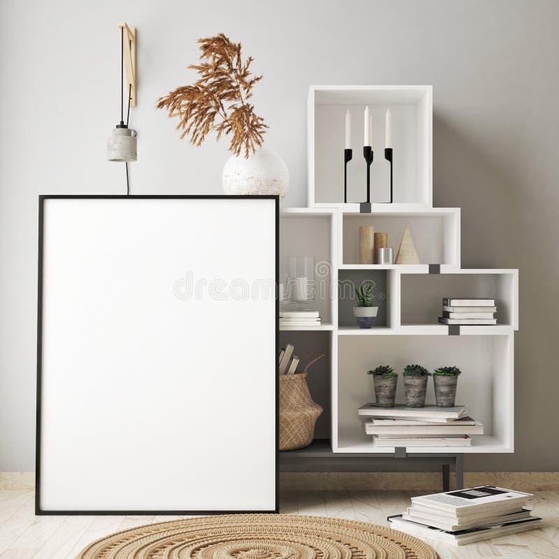 глумитесь вверх по рамке плаката в предпосылке битника внутренней, живущей комнате, скандинавском стиле, 3D представьте, иллюстра иллюстрация штока