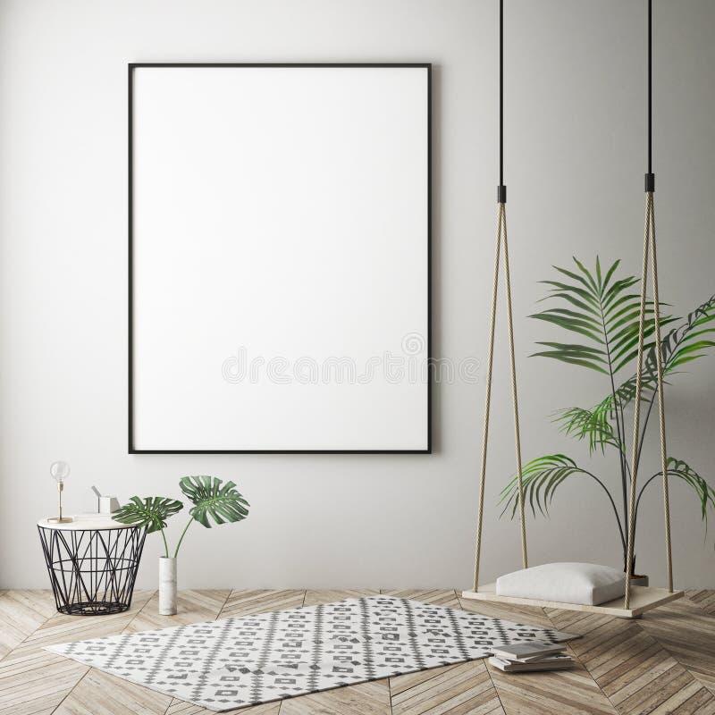 Глумитесь вверх по рамке плаката в предпосылке битника внутренней, скандинавском стиле, 3D представьте иллюстрация вектора