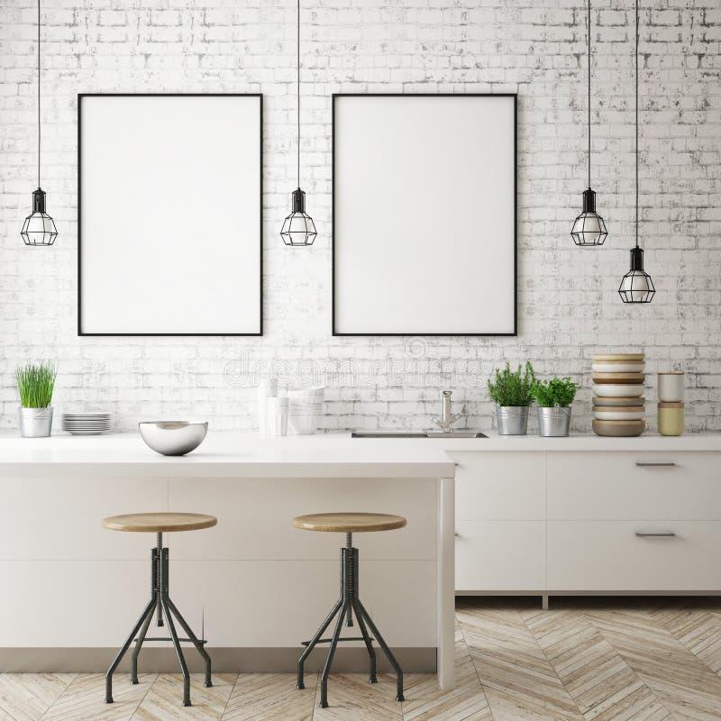 Глумитесь вверх по рамке плаката в предпосылке кухни внутренней, скандинавском стиле, 3D представьте иллюстрация штока