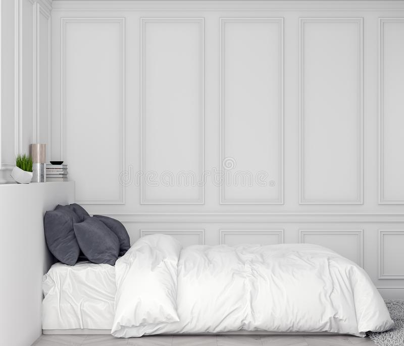 Глумитесь вверх по рамке плаката в предпосылке спальни внутренней с классической стеной, иллюстрацией 3D стоковое фото rf