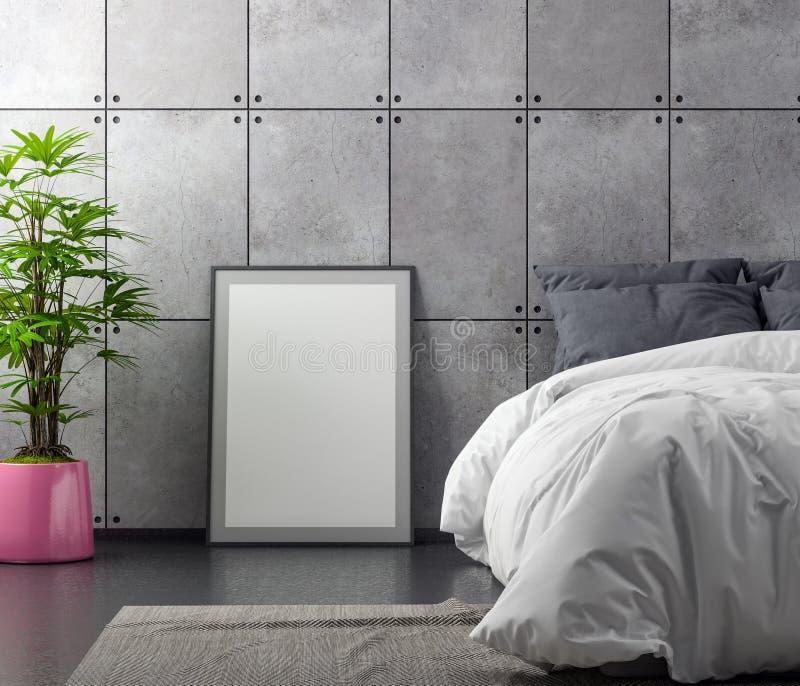 Глумитесь вверх по рамке плаката в предпосылке спальни внутренней с бетонной стеной, иллюстрацией 3D иллюстрация штока