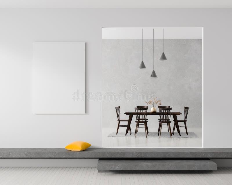 Глумитесь вверх по рамке плаката в скандинавском интерьере битника стиля нутряная самомоднейшая белизна иллюстрация 3d стоковая фотография