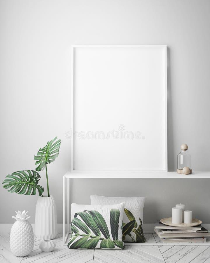 Глумитесь вверх по рамке плаката в тропической внутренней предпосылке, современном стиле Вест-Инди иллюстрация штока