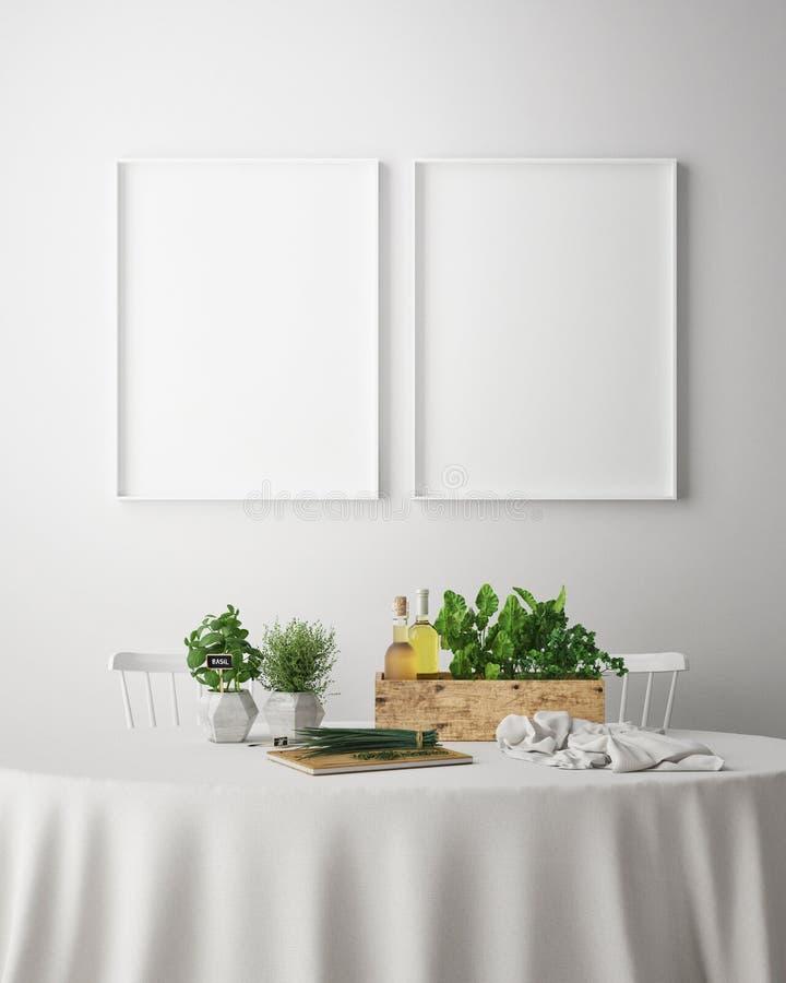 Глумитесь вверх по рамке плаката в dinning предпосылке комнаты внутренней, скандинавском стиле, 3D представьте иллюстрация вектора