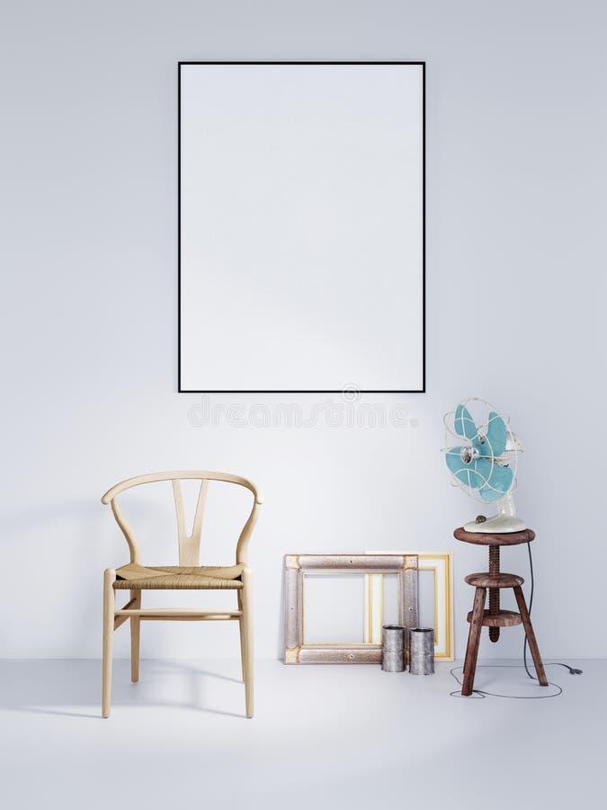 Глумитесь вверх по рамке плаката с деревянным вентилятором стула и воздуха в интерьере белой предпосылки стены современном иллюстрация штока