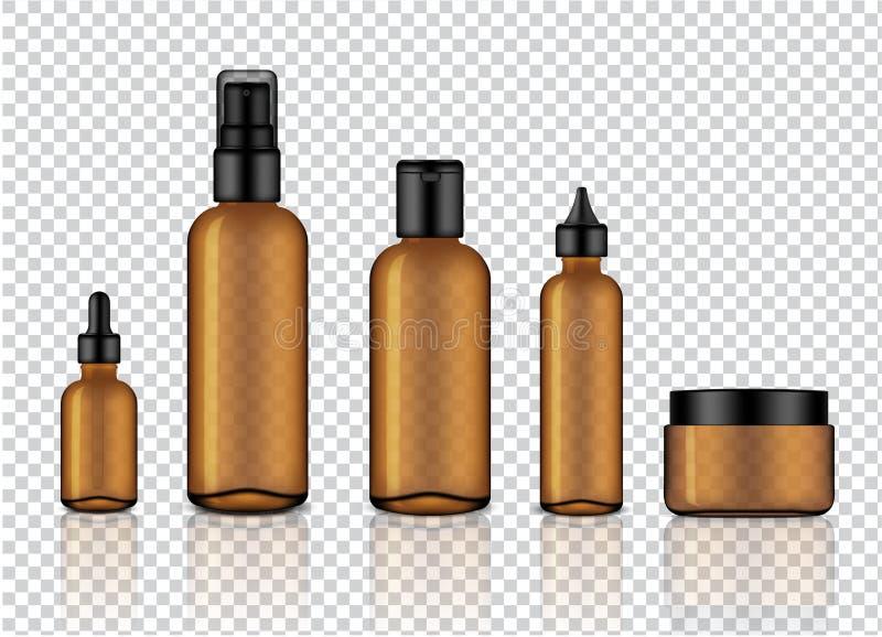 Глумитесь вверх по реалистическим лоснистым янтарным прозрачным стеклянным косметическим мылу, шампуню, сливк, капельнице масла и иллюстрация вектора