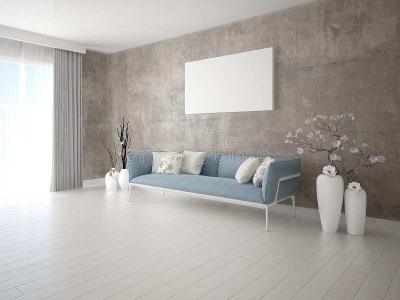 Глумитесь вверх по совершенной живущей комнате с современным интерьером бесплатная иллюстрация