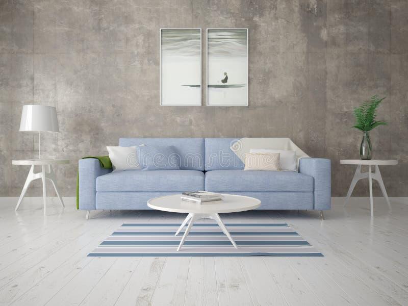 Глумитесь вверх по современной живущей комнате с стильной компактной софой иллюстрация штока