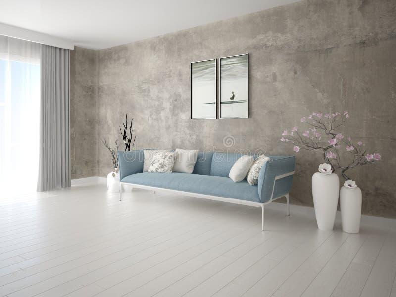 Глумитесь вверх по современной живущей комнате с ультрамодной софой бесплатная иллюстрация