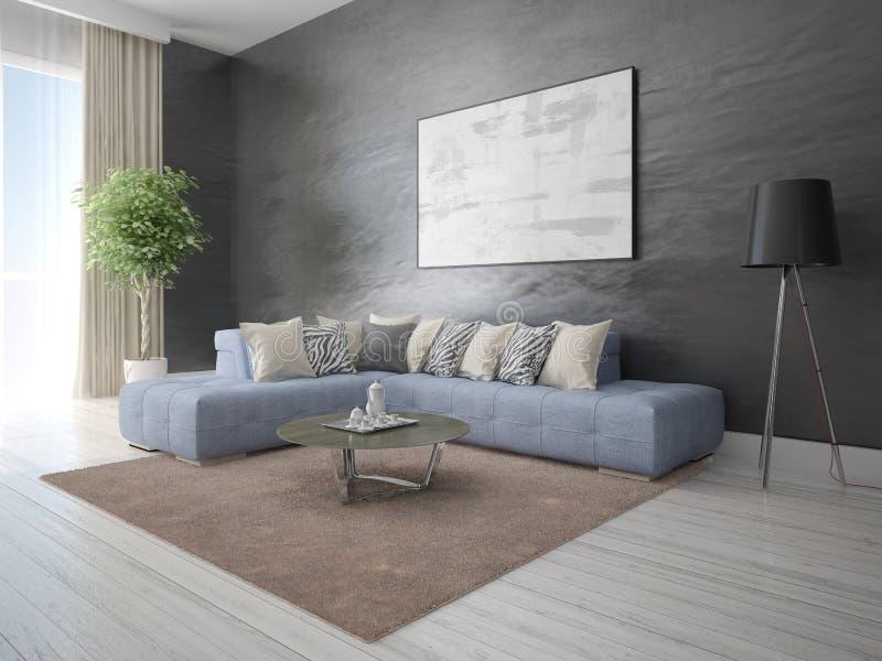 Глумитесь вверх по стильной гостиной с удобной яркой софой стоковая фотография