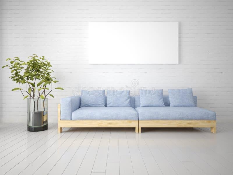 Глумитесь вверх по ультрамодной живущей комнате с современной софой бесплатная иллюстрация
