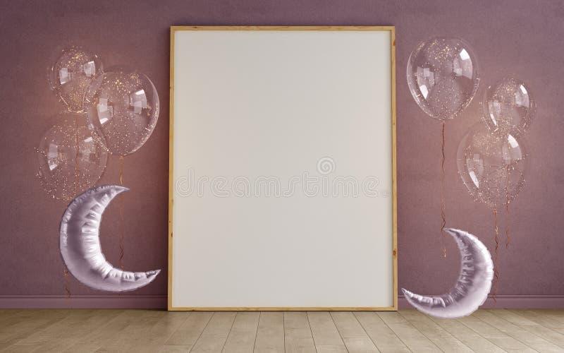 Глумитесь вверх пустых рамок фото на заштукатуренном walll, скандинавском интерьере childroom минимализма с шариками в форме луны иллюстрация вектора