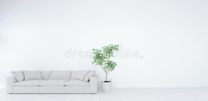 Глумитесь вверх, современная белая живущая комната, дизайн интерьера 3D представьте иллюстрация вектора