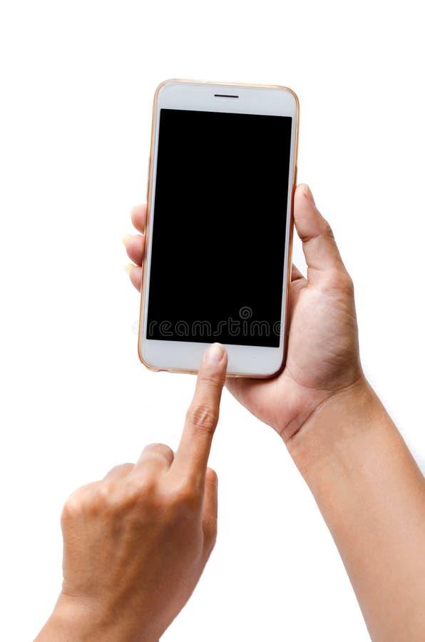 Глумитесь вверх удерживающего приспособления человека и касающего экрана PA клиппирования стоковое изображение