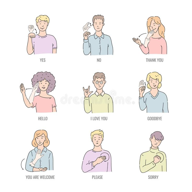 Глухие английские основные слова в линии искусстве изолированном на белой предпосылке иллюстрация вектора