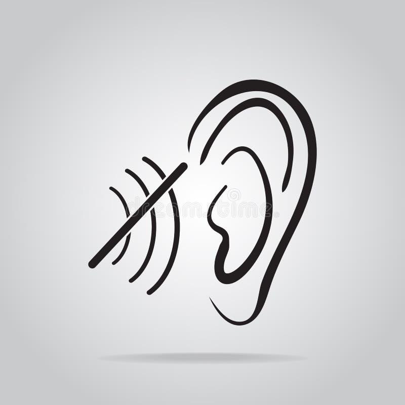 Глухой значок, инвалидность для того чтобы услышать значок иллюстрация штока