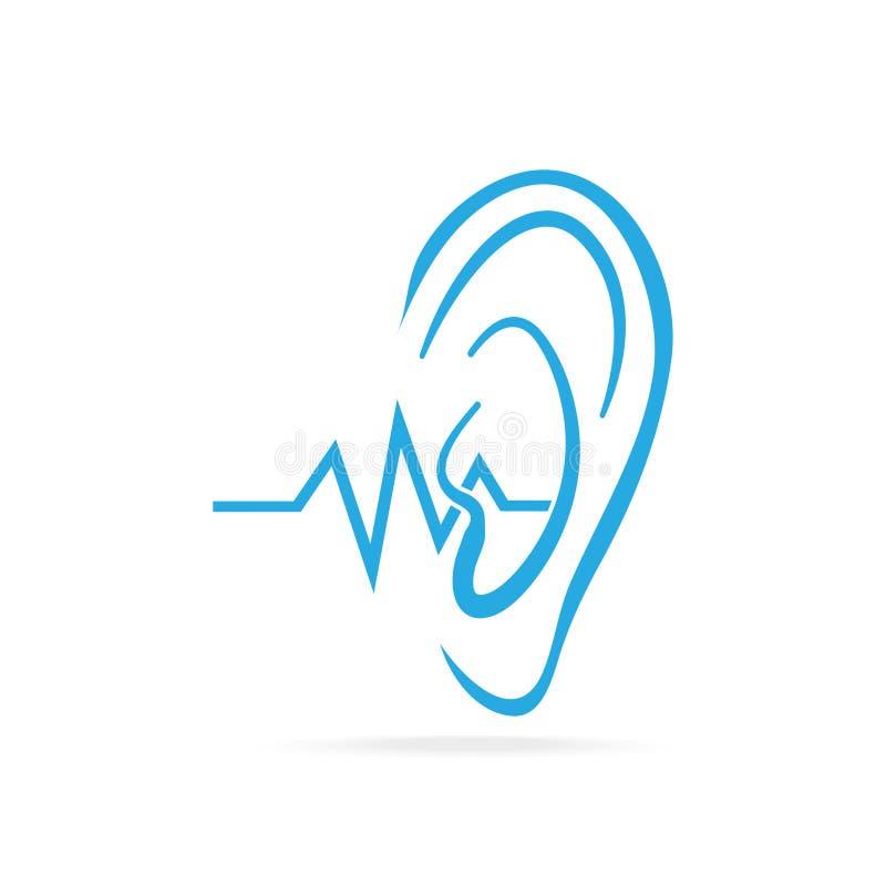 Глухой значок, слух и значок уха голубой, инвалидность для того чтобы услышать значок иллюстрация штока