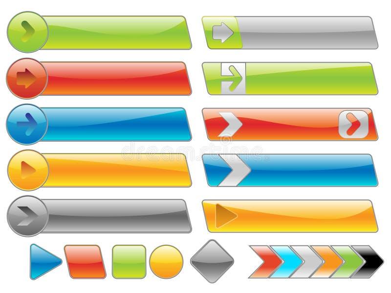 глянцеватое интернета кнопок установленное бесплатная иллюстрация