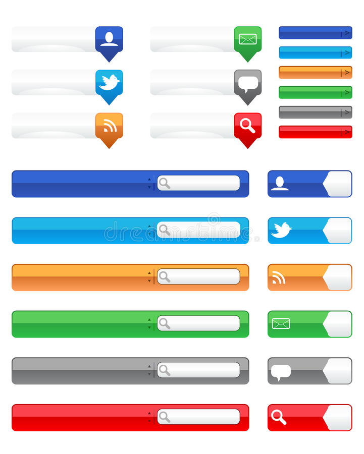 Глянцеватые кнопки сети иллюстрация штока
