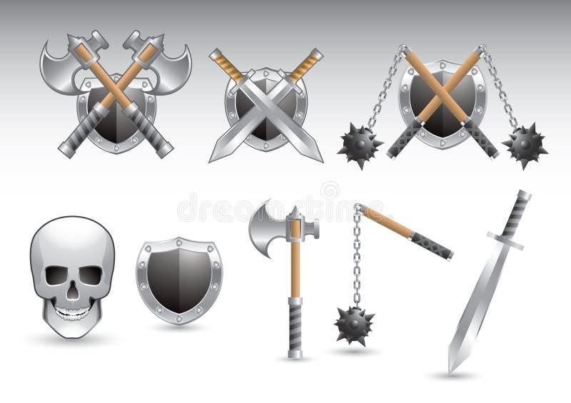глянцеватые серебряные оружия черепа стоковые фотографии rf