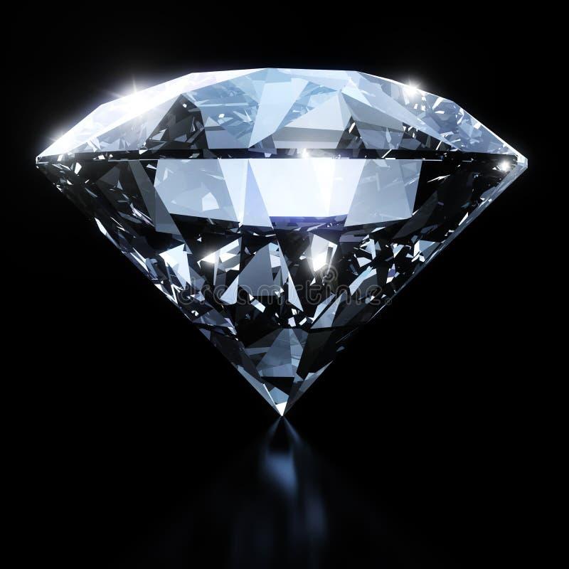 Глянцеватый диамант изолированный на черной предпосылке иллюстрация штока