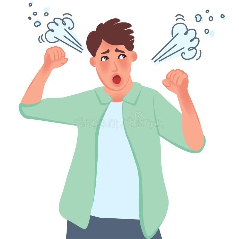 Гнев, агрессия Клекоты парня и обхваченный его рукам в кулаки Neuropsychiatric разлады, депрессия Векторные графики n иллюстрация штока