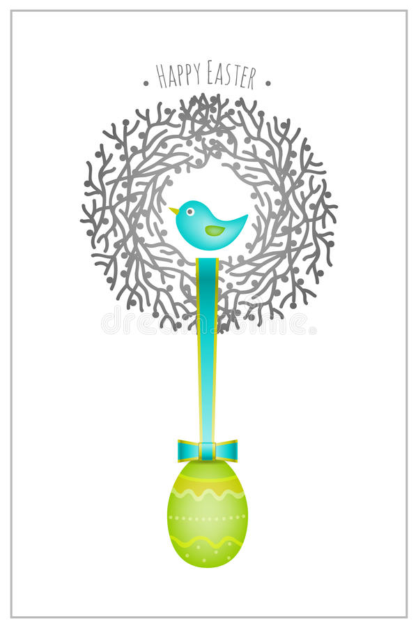 Гнездй птицы карточки пасхи бесплатная иллюстрация