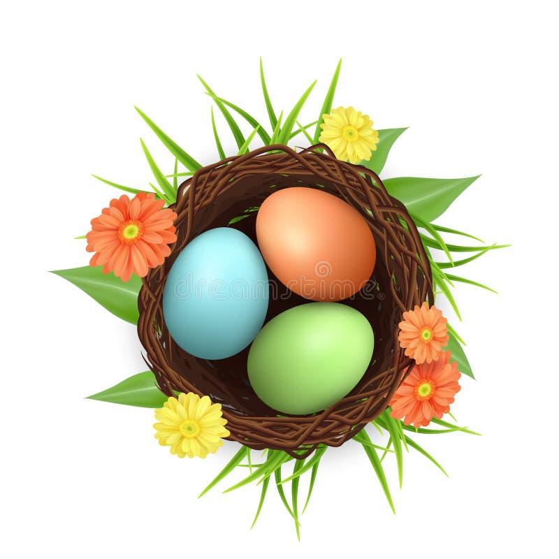 Гнездй птицы с пасхальными яйцами вектор иконы 3d иллюстрация штока