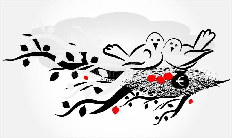 гнездй птицы иллюстрация штока