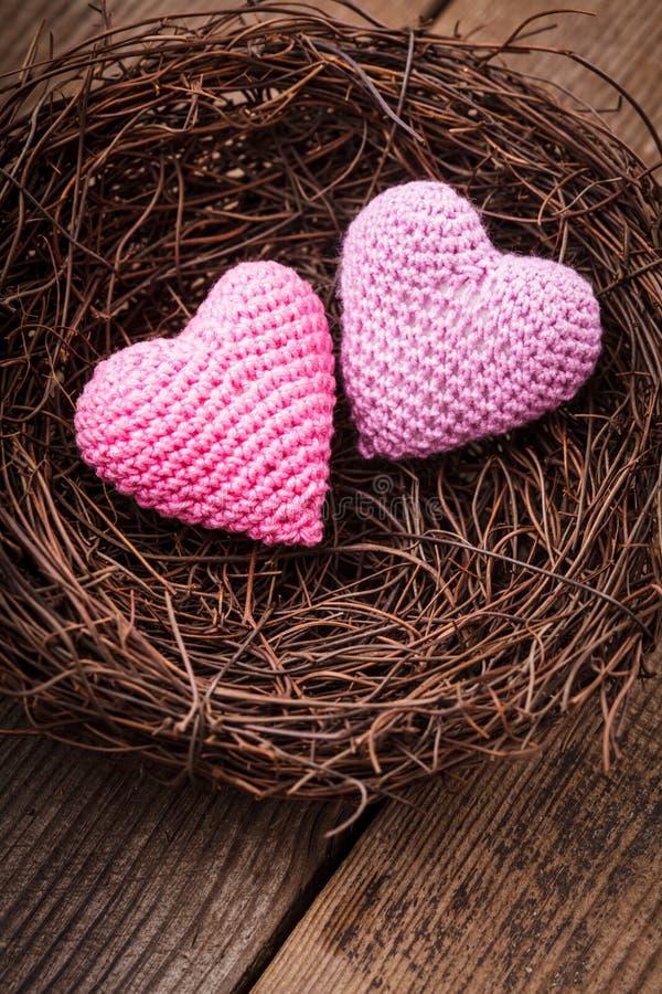 Гнездй с сердцами стоковая фотография