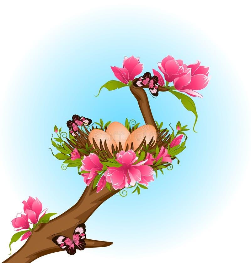 гнездй цветков яичек иллюстрация штока