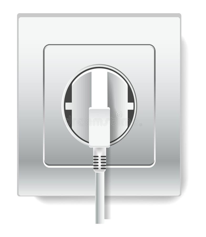 Гнездо и штепсельная вилка с деталем провода изолированным электричеством электрическим иллюстрация вектора