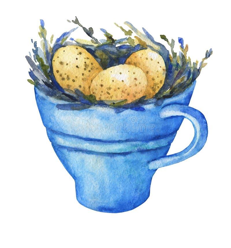 Гнездо птицы с желтыми яичками в голубой чашке, домашним оформлением для пасхи бесплатная иллюстрация