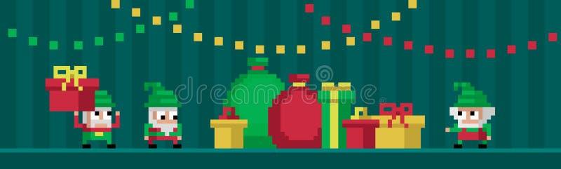 Гномы искусства 3 пиксела милые иллюстрация вектора