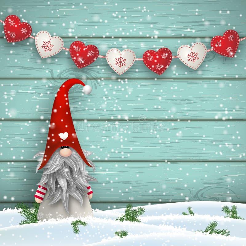 Гном скандинавского рождества традиционный, Tomte, иллюстрация иллюстрация вектора