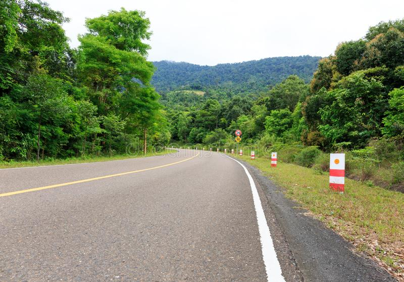 Гнуть дорога к верхней части горы с зелеными деревьями и Traff стоковое изображение rf