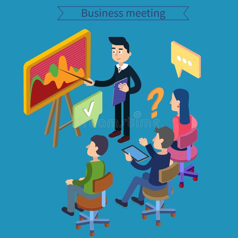 говорить встречи компьтер-книжки стола cmputer бизнесмена дела сь к использованию женщины Деятельность команды Человек с таблетко иллюстрация штока