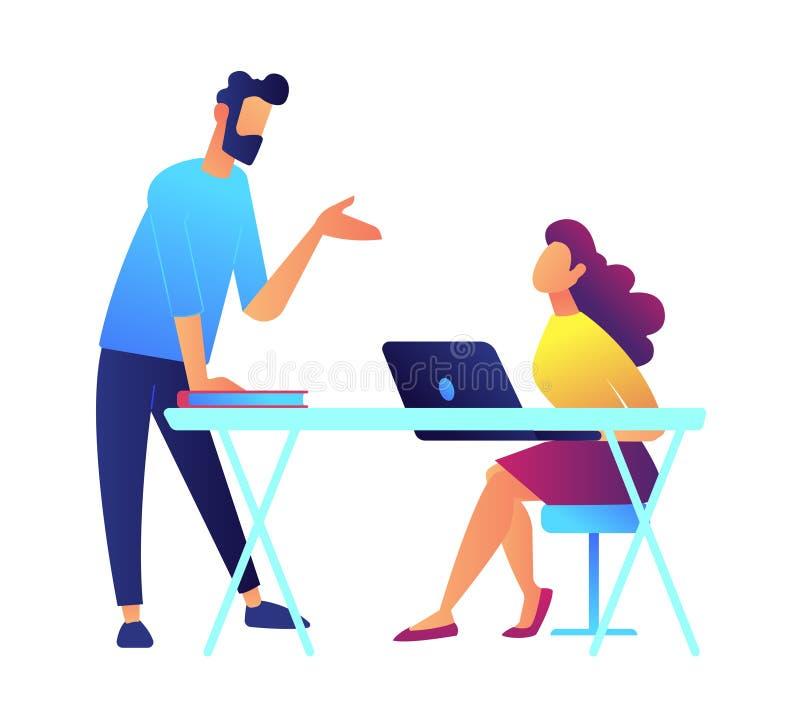 Говорить и студент учителя слушают сидящ на столе с иллюстрацией вектора компьтер-книжки бесплатная иллюстрация
