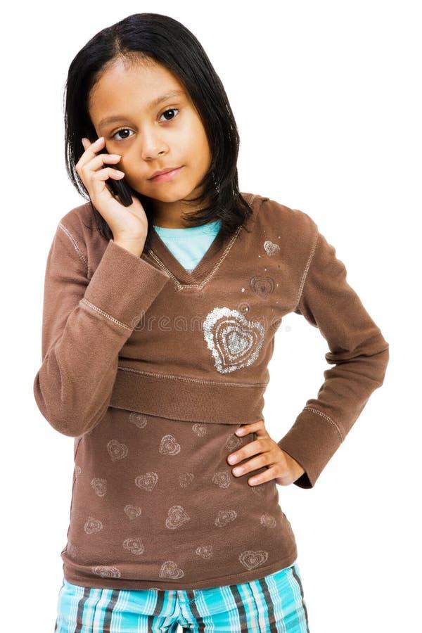 говорить мобильного телефона девушки стоковая фотография rf