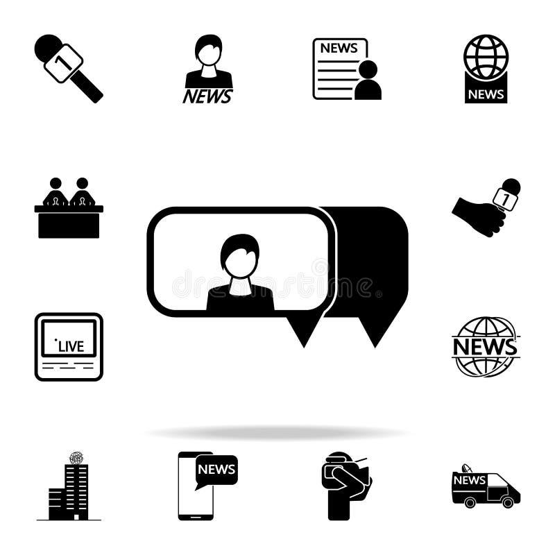 говорить о значке девушки Комплект значков средств массовой информации всеобщий для сети и черни иллюстрация вектора