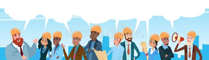 Говорить пузыря связи болтовни работников гонки смешивания архитектора команды построителя бесплатная иллюстрация